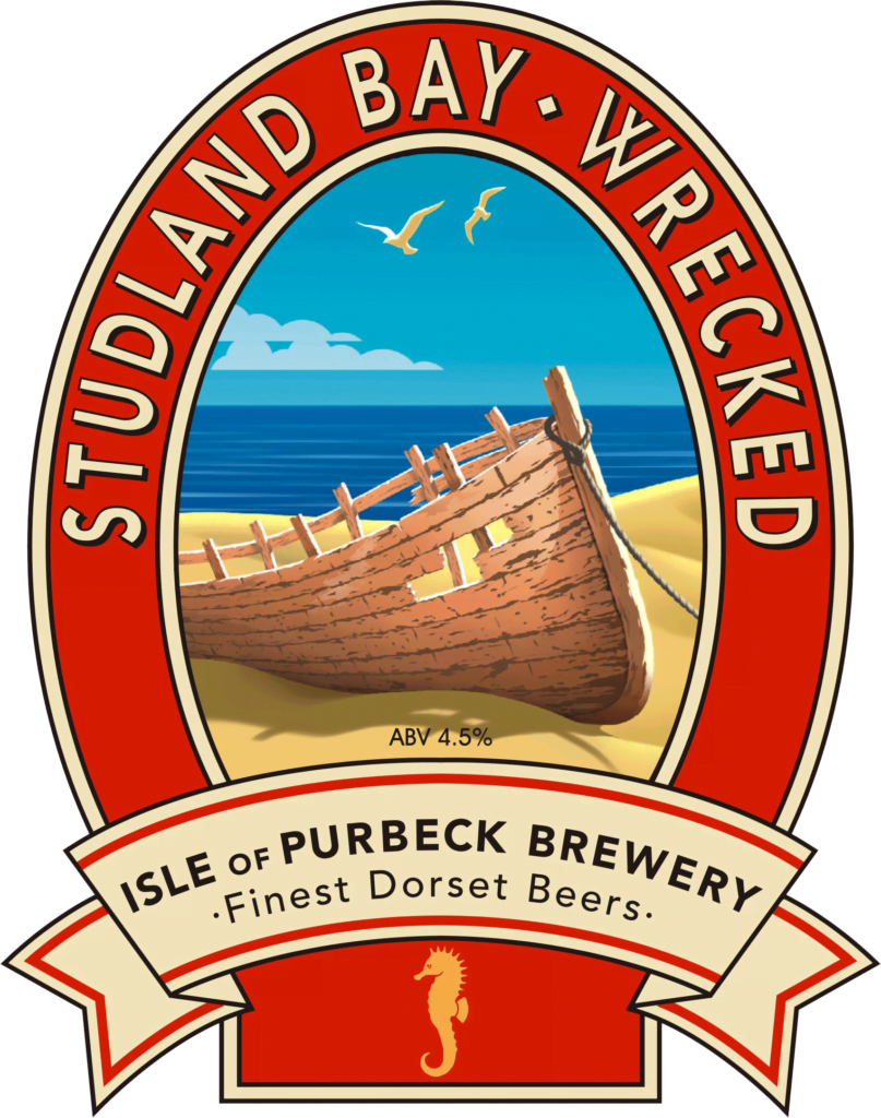 Isle of Purbeck Brewery Studland Bay Wrecked pumpclip PNG